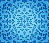 Abstract Vector Background of Blue Floral Seamless Pattern