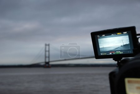 Humber Bridge being filmed on a professional video camera