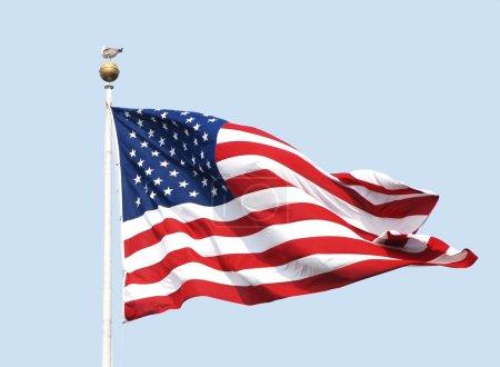 Photo pour Le drapeau américain - les étoiles et les rayures - mouches sur une journée ensoleillée avec un ciel clair, bleu poudre. une mouette se tient nonchalamment au sommet de la hampe du fanion. - image libre de droit