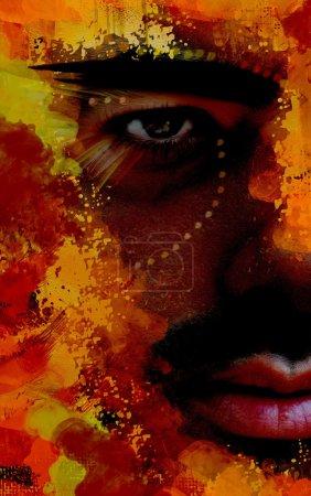 Photo pour Dessin coloré de l'homme noir, fragment, peinture - image libre de droit