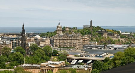 Photo for View from the wall of Edinburgh Castle to the city and Calton Hill - Royalty Free Image