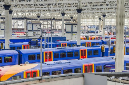 Trains at waterloo station in London
