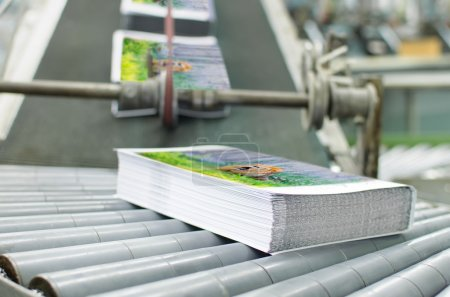 Book, magazine, production line into press plant house
