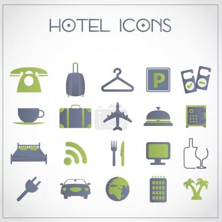 Illustration pour Ensemble vectoriel d'icônes d'hôtel et de voyage - image libre de droit