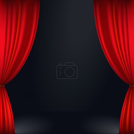 Illustration for Vector illustration of a red stage curtain - Royalty Free Image