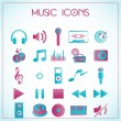 Vector illustration of music icons on white-blue b...