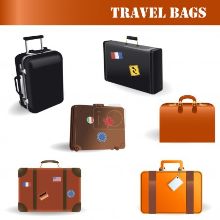 Illustration for Vector travel bags set on white background - Royalty Free Image