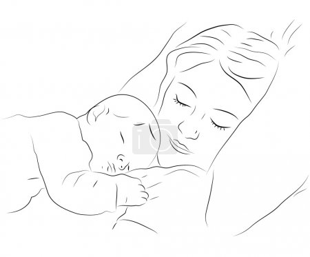 Illustration for Sketchy vector illustration of a sleeping mother with a baby - Royalty Free Image