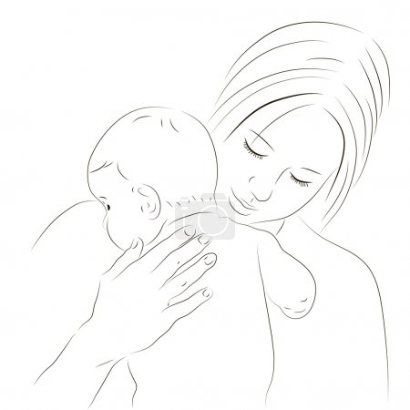 Mother and newborn sketch
