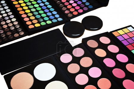 Makeup pallette with eyeshadow powder lipstick and blush