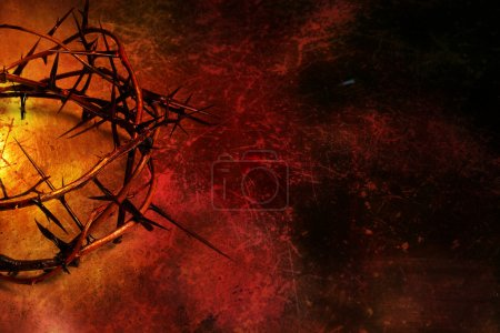 Photo for Crown of thorns on dark red grunge background with scratches - Royalty Free Image