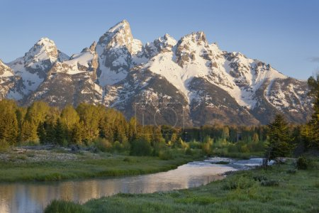 Grand Teton mountains with stream in morning light