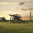 A pair of cannons at sunset on the Antietam Nation...