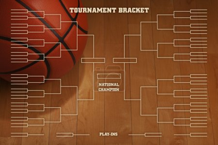 Basketball tournament bracket with spot lighting on wood gym flo