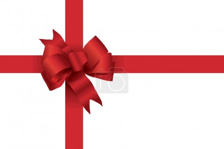 Illustration for A vector illustration of a red Christmas bow with ribbons like on a present - Royalty Free Image