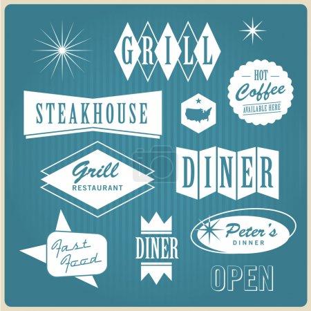 Illustration pour Jeu de vintage rétro nous restaurantt logo, badges et étiquettes, illustration vectorielle modifiable - image libre de droit