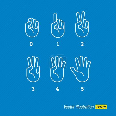 Illustration for Count vector hand and fingers - Royalty Free Image