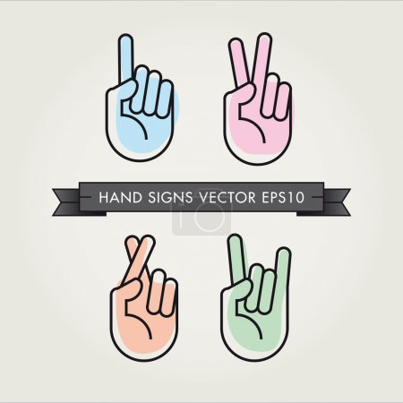 Illustration for Hand gestures, signals and signs - Royalty Free Image