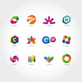 Glossy and colorful logo and icons template vector