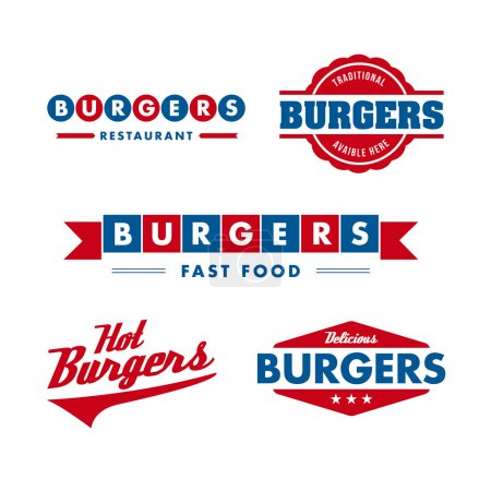 Photo for Set of vintage fast food restaurant logo, panel, badge and label - Royalty Free Image