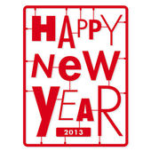 Happy new year card Typography letters type font kit