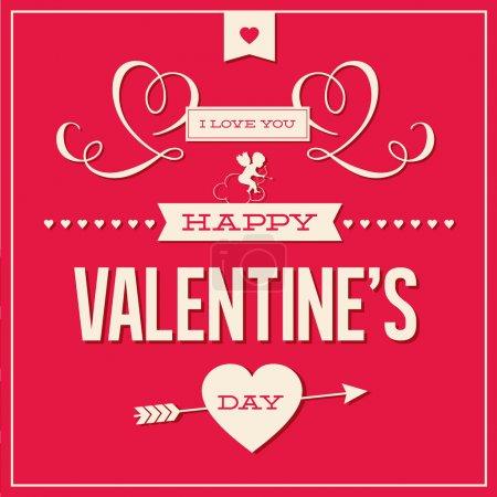 Photo pour Heureuse Saint Valentin cartes avec ornements, coeurs, ruban, angel et flèche - image libre de droit