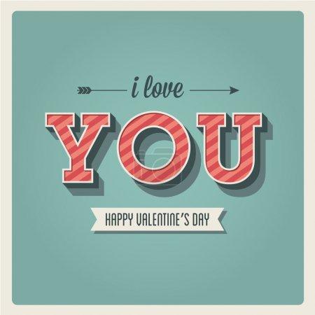 Illustration pour Heureuse Saint-Valentin carte, j'aime vous, type de police, 3 rétro dimensionnelle, vintage - image libre de droit