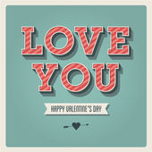 Happy Valentines day card i love you font type 3 dimensional vintage retro