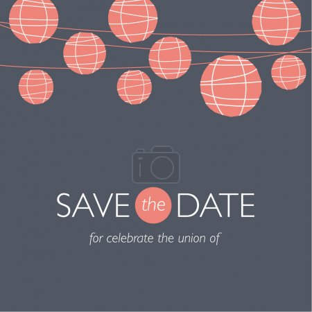 Illustration for Wedding invitation card, save the date, balloons paper lamps, wedding background illustration vector - Royalty Free Image