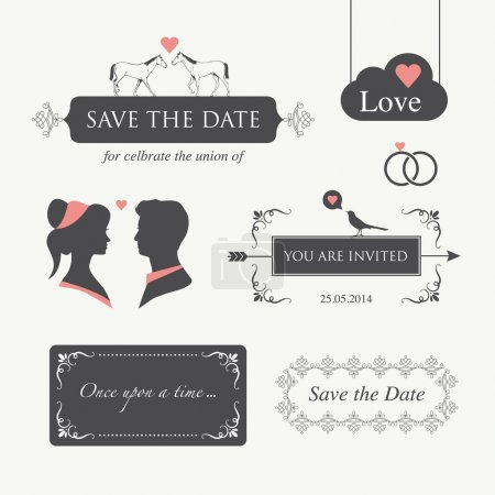Photo for Set of wedding logo design illustration elements and ornament, editable for wedding invitation card - Royalty Free Image
