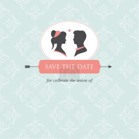 Illustration for Wedding invitation card template editable with wedding couple illustration and wedding background - Royalty Free Image