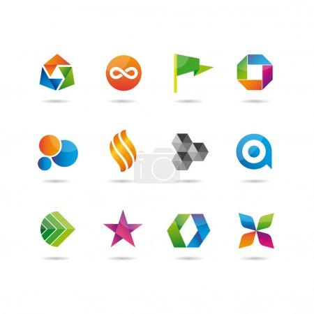 Foto de Logo e iconos conjunto brillante, bandera, círculo, burbuja, estrella, origami, flor - Imagen libre de derechos
