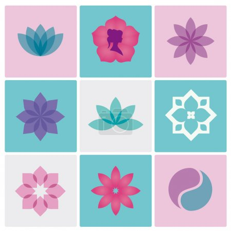 Illustration for Flowers logo and icons for spa and beauty salon - Royalty Free Image