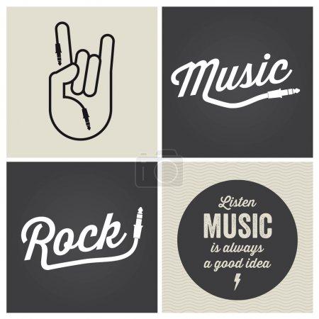Illustration pour Éléments de conception musicale logo avec type de police et vecteur d'illustration - image libre de droit
