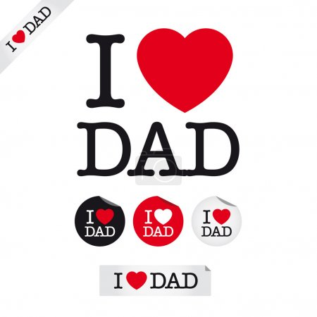 Illustration for Happy fathers day, i love dad, font type with signs, stickers and tags - Royalty Free Image