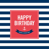 Happy birthday invitation card Sailor theme