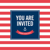 Happy birthday invitation card. Sailor theme