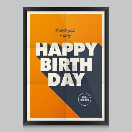Illustration pour Joyeux anniversaire, fond d'affiche vintage rétro avec texture de papier, cadre et couleurs modifiables . - image libre de droit