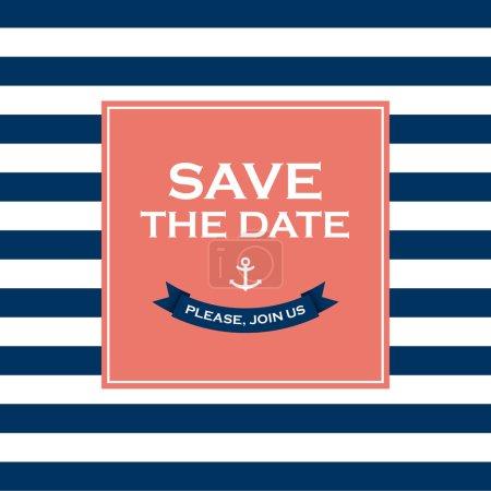 Illustration pour Carte d'invitation de mariage. Sauvegardez la date, thème marin. Texte et couleur modifiables . - image libre de droit
