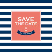 Wedding invitation card Save the date sailor theme Text and color editable