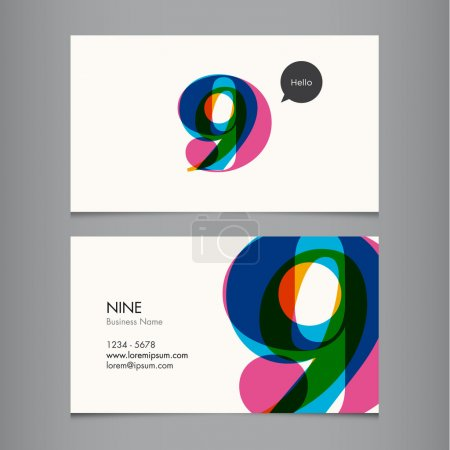 Business card template with number nine
