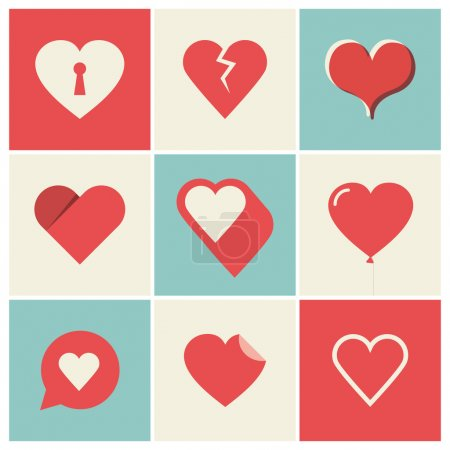Illustration for Heart Icons Set, ideal for valentines day and wedding - Royalty Free Image