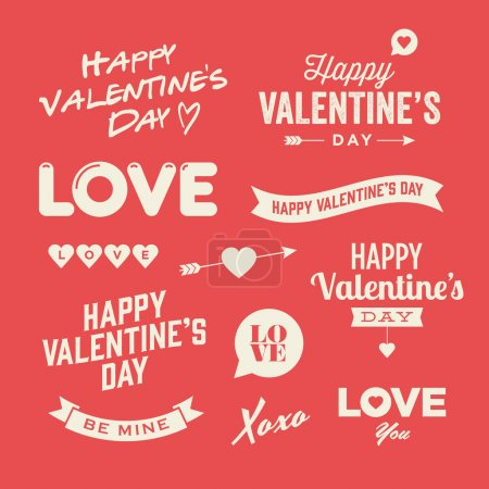 Illustration for Valentines day illustrations and typography elements - Royalty Free Image