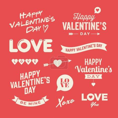Illustration pour Illustrations et éléments typographiques de la Saint Valentin - image libre de droit