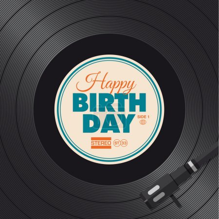 Happy birthday card. Vinyl illustration.