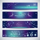 Set of horizontal Christmas New Year banners
