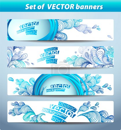 Illustration for Set of banners, abstract headers with blue blots. - Royalty Free Image