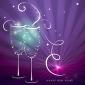 Two shining Champagne Glasses with Abstract Splash