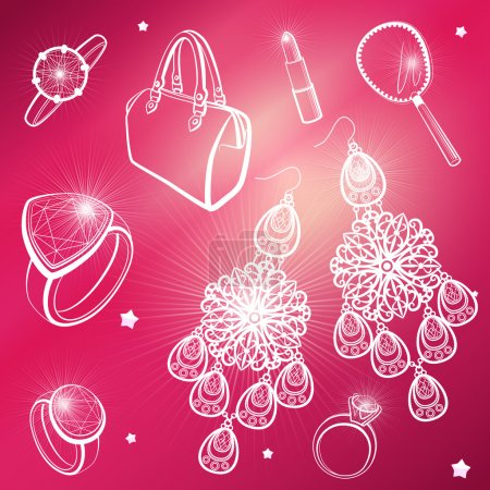 Lady's dream icons. Different accessories. Vector set.