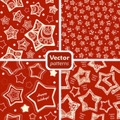 A set of 4 festive seamless patterns with decorated stars